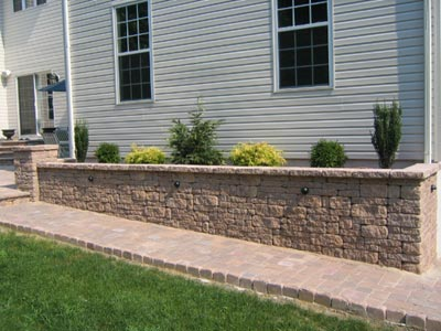 Walkway, Edgestone, Column, and Retaining Wall with built in lighting