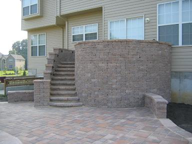 Spriral Staircase And Raised Patio Finished Project With Village Square  Random Pattern